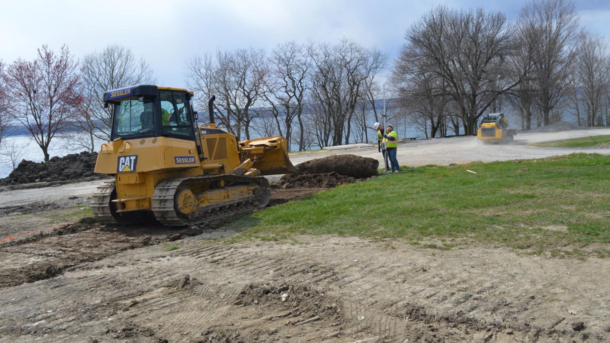 Leveling ground with bulldozer