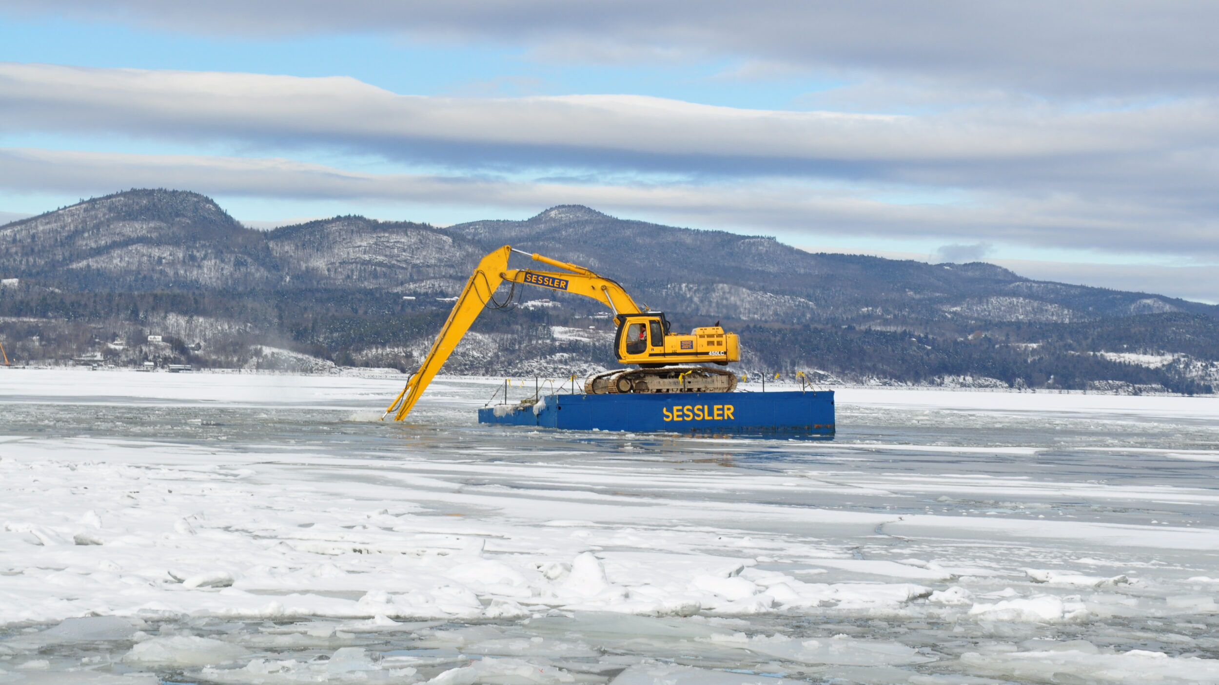 Crown point excavator on barge