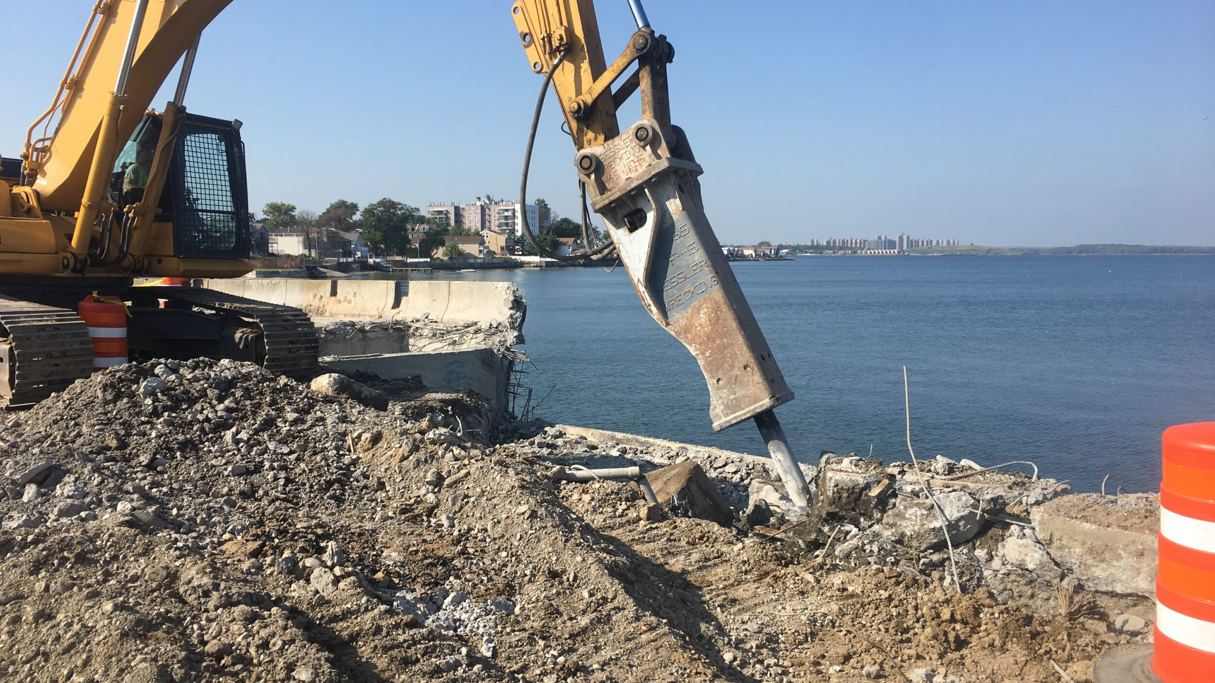 Hammer attachment on excavator