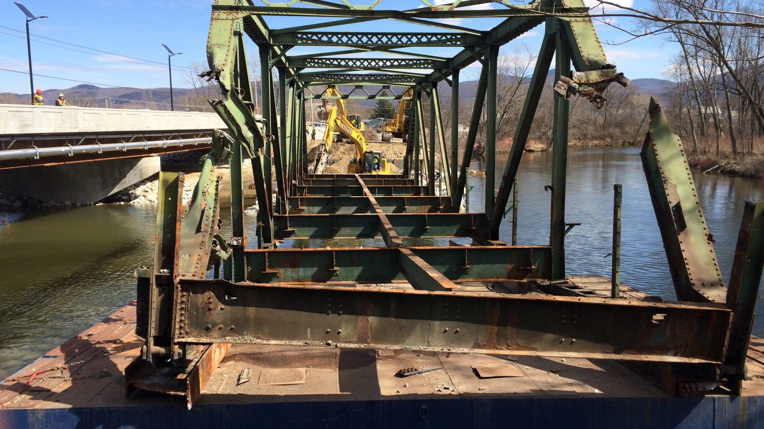 View looking through truss bridge