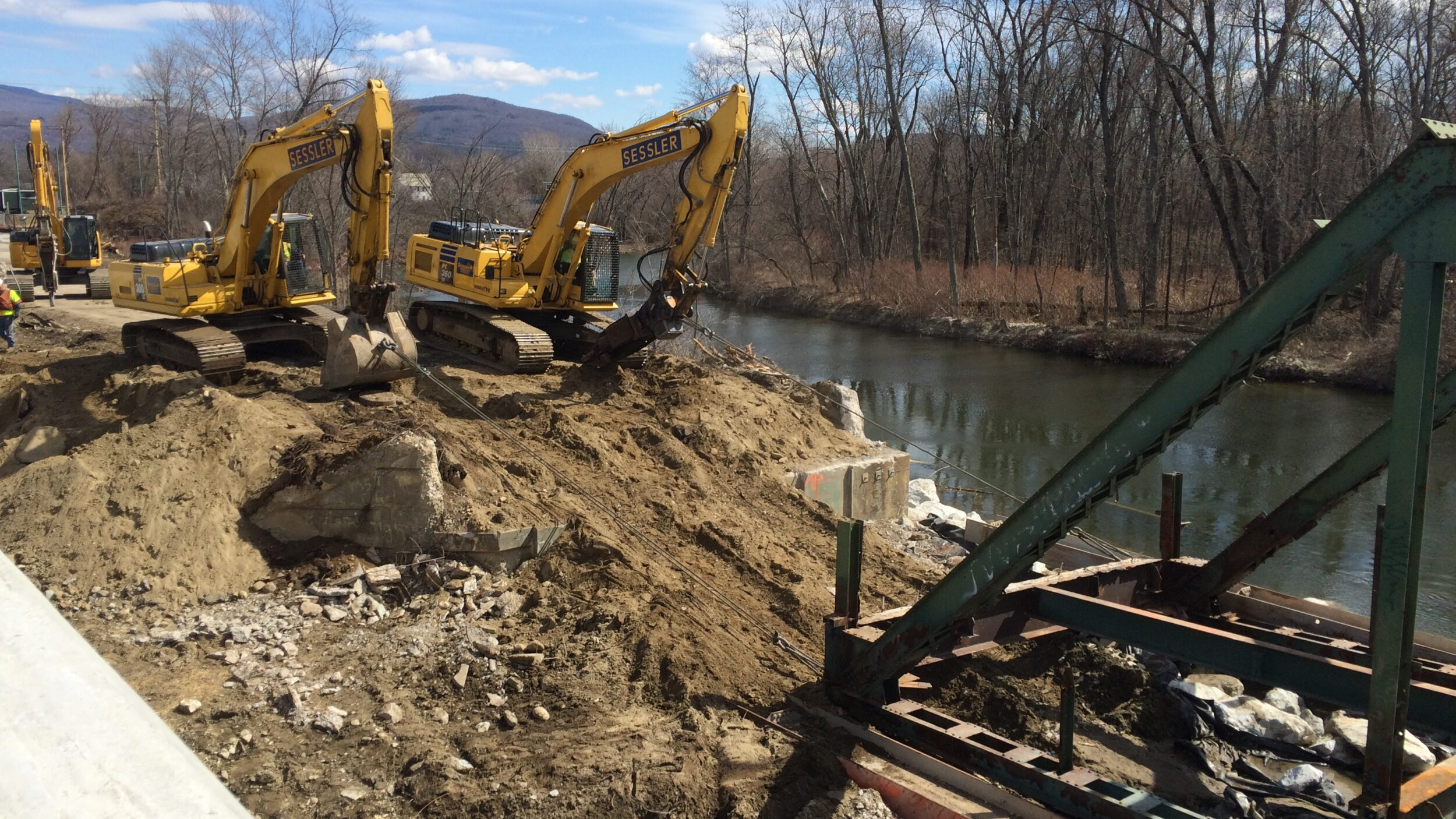 Excavators Pulling Truss
