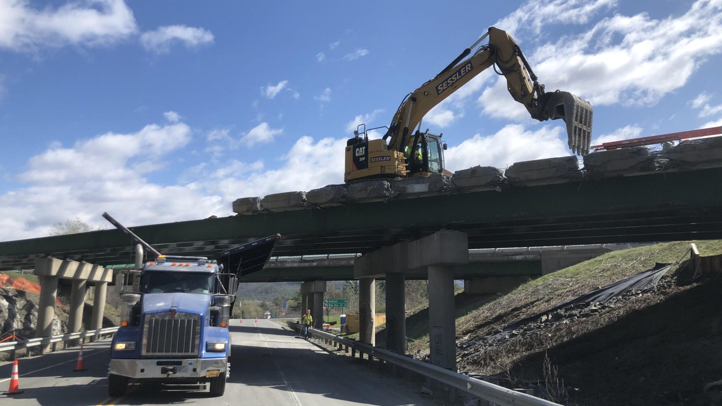 Excavator on I-91