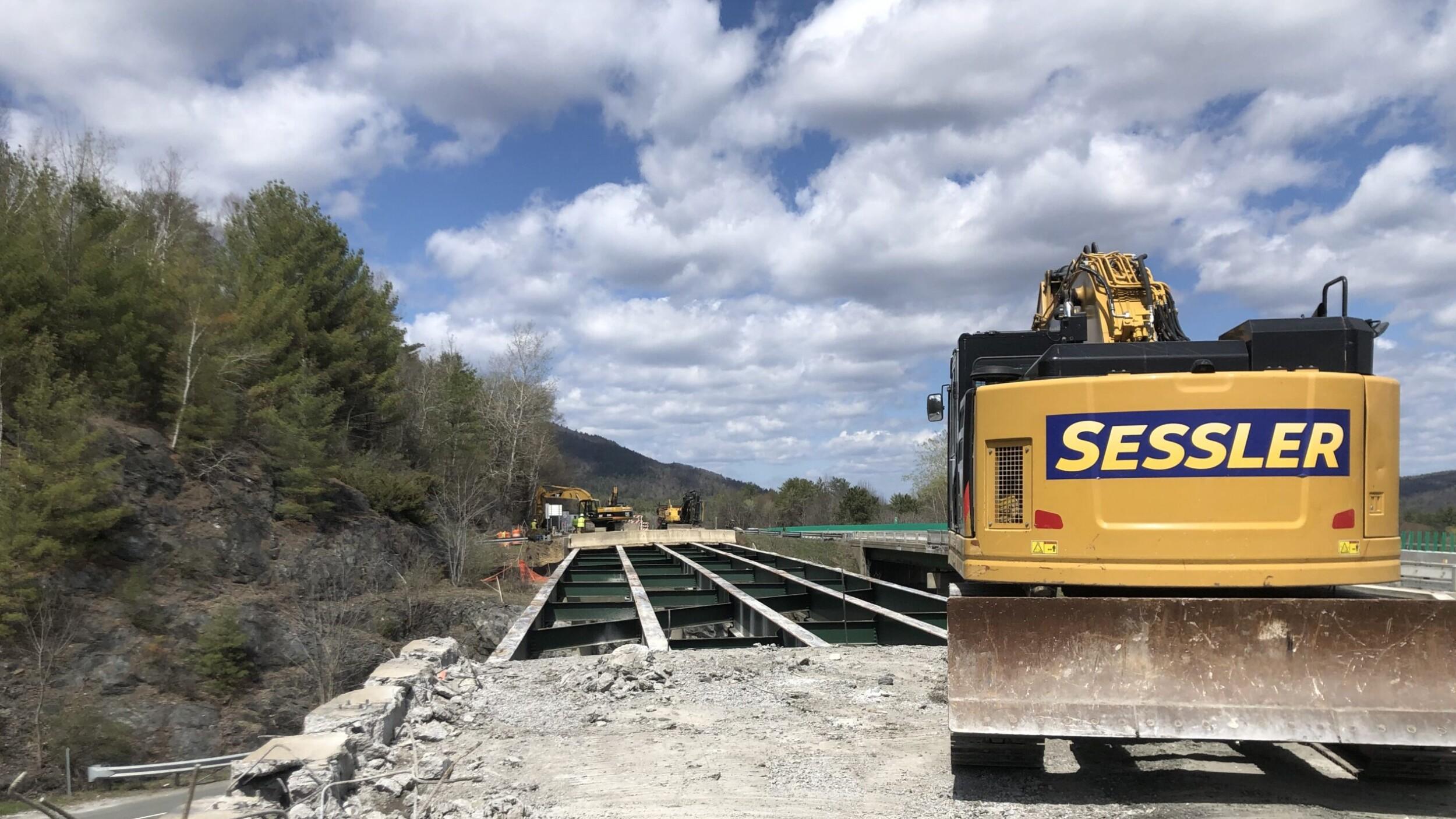 Excavator on Bridge
