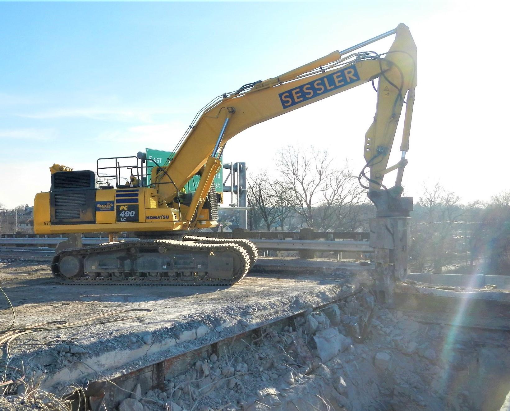 Excavator on Passaic Bridge