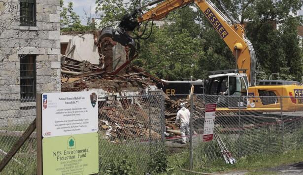 Memories, Emotions Surface as Demolition of Seneca Knitting Mill Office Building Begins